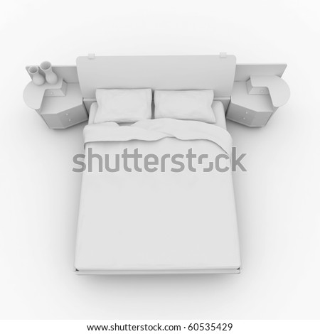 3d furniture detailed bed isolated on white - stock photo
