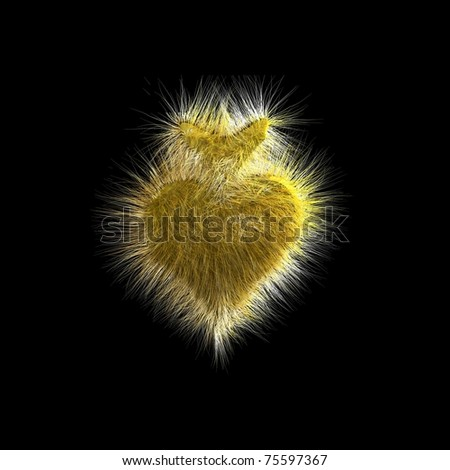 3d fuzzy heart - stock photo