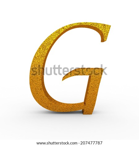 """3d """"G"""" Gold Letter with Bump - isolated - stock photo"""