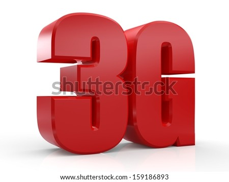 3D 3G text on white background - stock photo