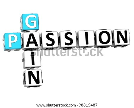 3D Gain Passion Crossword text on white background - stock photo