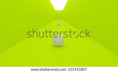 3d gallery concept, sphere - stock photo