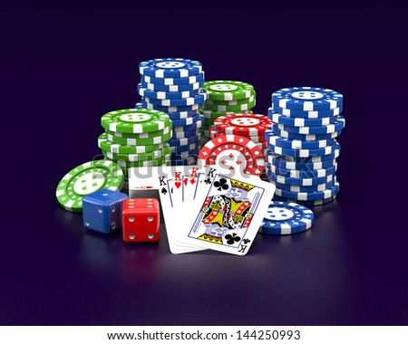 3d gambling poker chips stacks plying cards and dice on dark background - stock photo