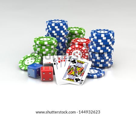 3d gambling poker chips stacks plying cards and dice on white background - stock photo