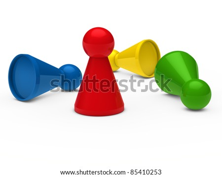 3d game figure team blue red green - stock photo