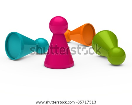 3d game figure team pink orange blue - stock photo