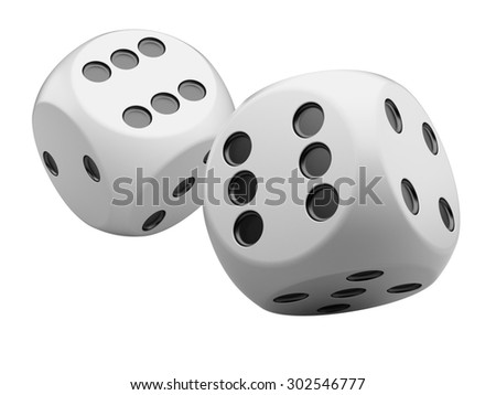 3d game white dices isolated on white background - stock photo