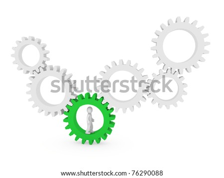 3d gear human man green teamwork circle business - stock photo