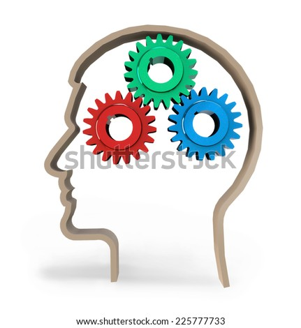 3d gears in human head. Thinking process, intelligence, future, memories,  problems - stock photo