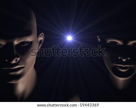 3d generated close up faces of man and woman in darkness of space with star burst between them - stock photo