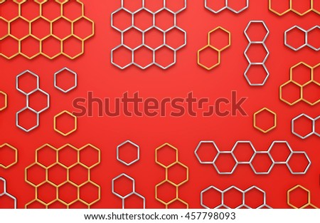 3D generated colorful honeycomb illustration as a background - stock photo