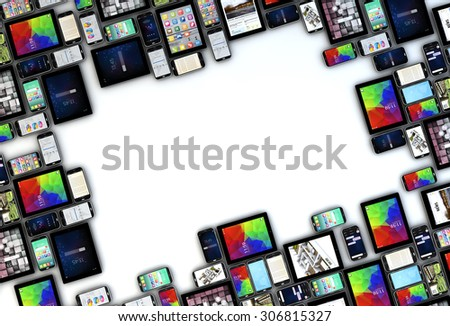 3D generated devices collection with copyspace in the middle. All screen graphics are made up - stock photo