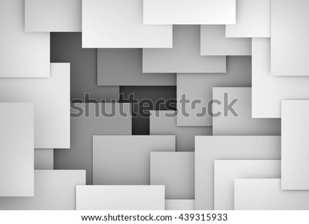 3D generated gray tones abstract illustration as background - stock photo