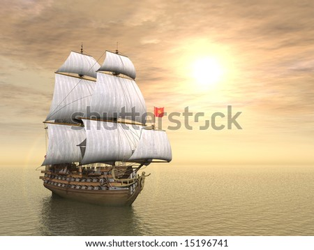 3d generated scene of pirate ship at sunset - stock photo