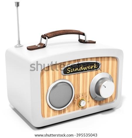 3d generic vintage radio on white background 3D illustration - stock photo