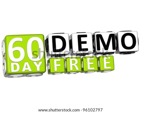 3D Get 60 Day Demo Free Block Letters over white background - stock photo