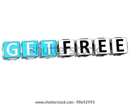 3D Get Free Bonus Cube text  on white background - stock photo