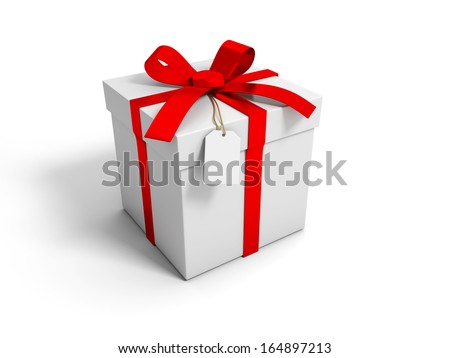 3d gift box with red ribbon bow isolated on white background - stock photo