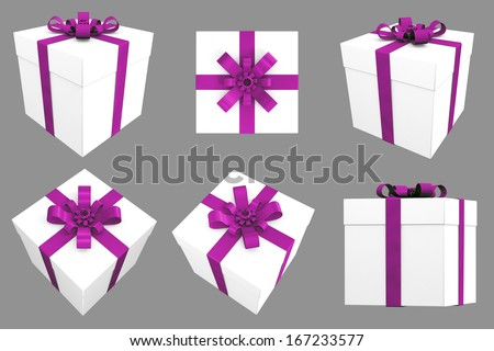 3D Gift. White Box with Pink Satin Ribbon. Multiple Angles / Views  - stock photo