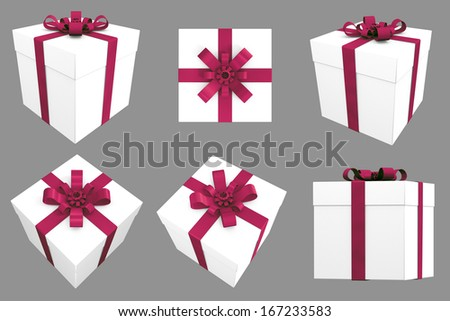 3D Gift. White Box with Wine Colored Satin Ribbon. Multiple Angles / Views  - stock photo