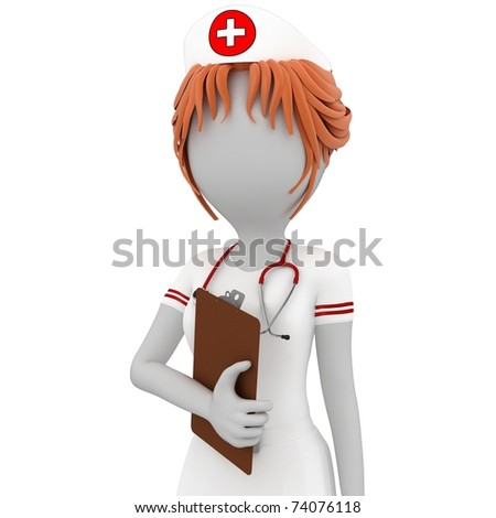 3d girl doctor with notepad isolated on white - stock photo