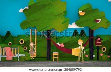 3d girl on the swing and the boy with a hammock - stock photo