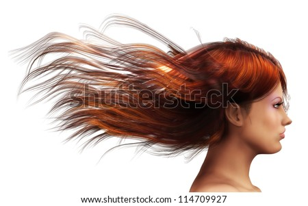 3d girl with brown  hair blowing in the wind. - stock photo