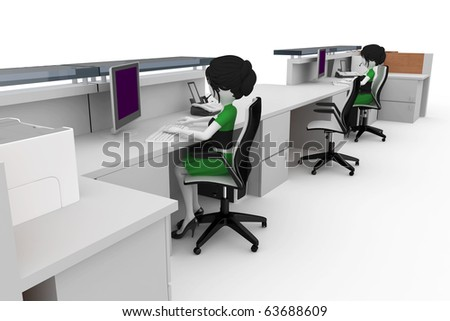 3d girl working at the help desk isolated on white - stock photo