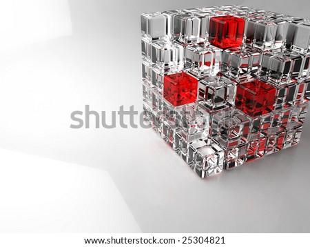 3D Glass cube - stock photo