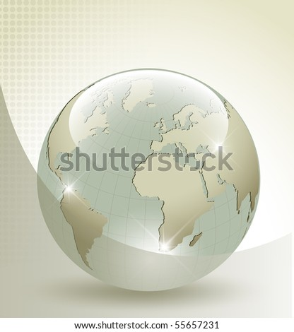 3d glass Earth globe - stock photo