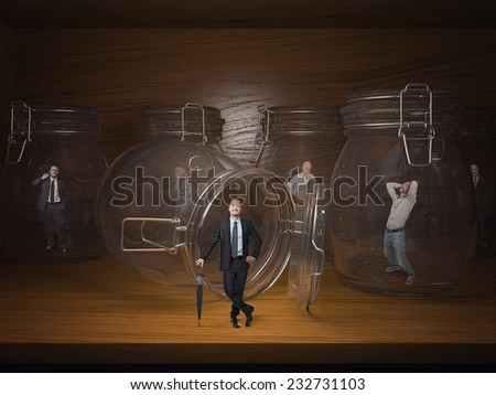 3d glass jail and business people prisoners - stock photo