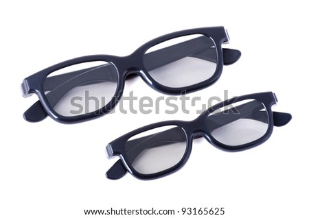 3D glasses adults and children on a white background isolated - stock photo