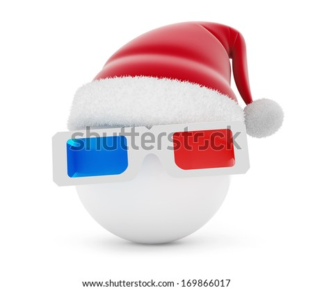 3d glasses ball santa hat on a white background - stock photo