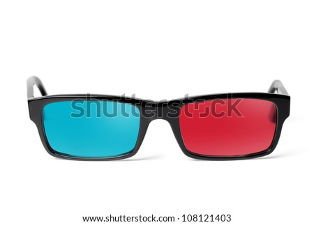 3D glasses front, isolated on white background - stock photo
