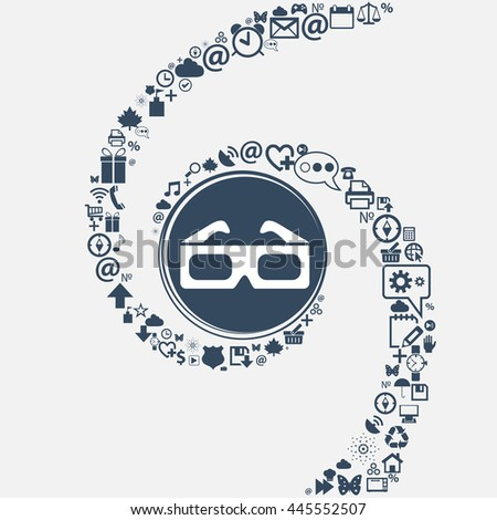 3d glasses icon in the center. Around the many beautiful symbols twisted in a spiral. You can use each separately for your design. illustration - stock photo