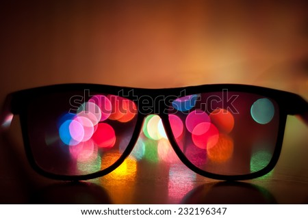 3D glasses with bokeh - stock photo