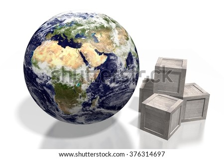 3D global delivery transport concept - wooden boxes and an Earth. - stock photo