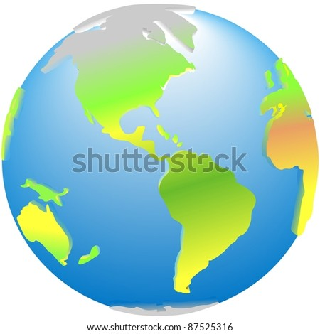 3d global planet Earth america icon - stock photo