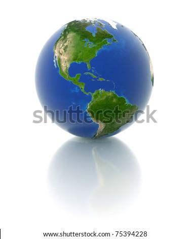 3d globe - america - stock photo