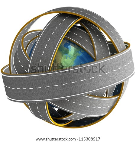 3d Globe and roads around it. Elements of this image furnished by NASA. - stock photo