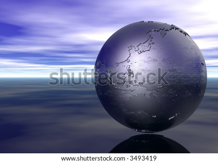 3D Globe: Australasia - stock photo