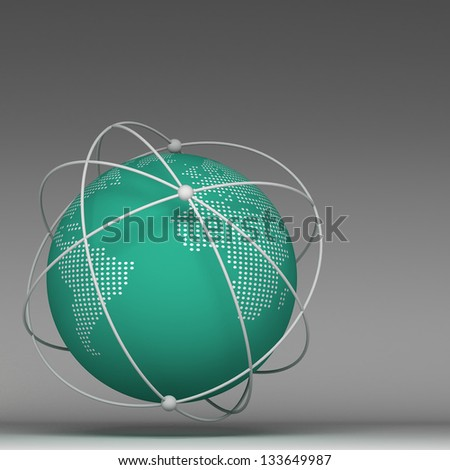 3d globe connections network design - stock photo