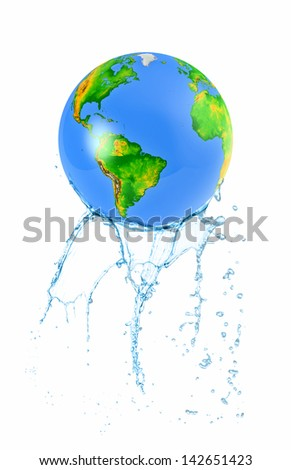 3d globe loses water - stock photo