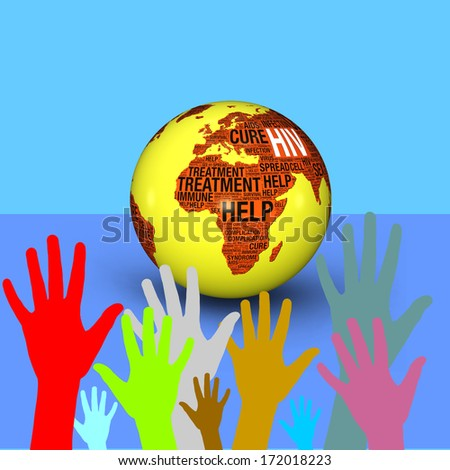 3d globe with HIV text and colorful hand on blue background- Fight HIV concept - stock photo