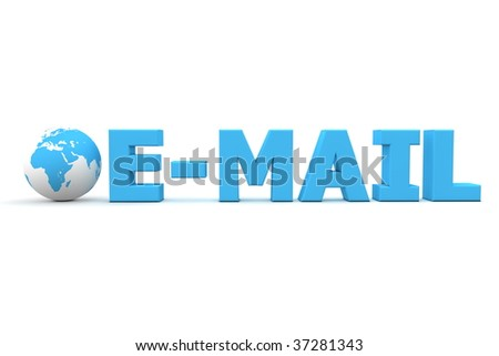 3D globe with word E-Mail in blue - front view - stock photo