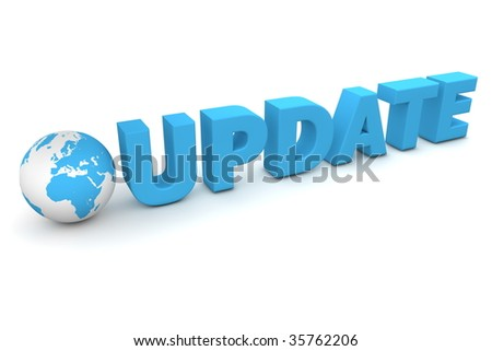 3D globe with word update in blue - stock photo