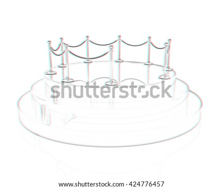 3D glossy podium with gold handrail on a white background. Pencil drawing. 3D illustration. Anaglyph. View with red/cyan glasses to see in 3D. - stock photo