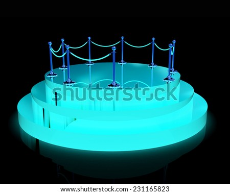 3D glossy podium with handrail on a black background - stock photo