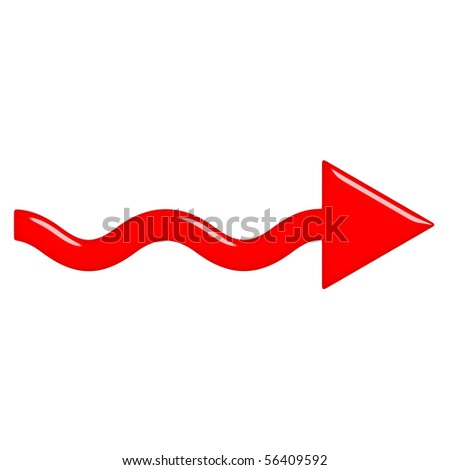 3d glossy red arrow - stock photo