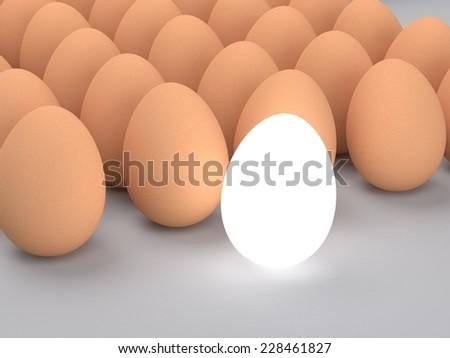 3d glow egg ,light  of outstanding leader   - stock photo